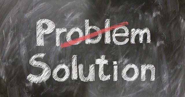 problem, solution chalkboard showing how we can help